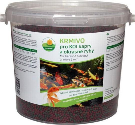 Proxim krmivo pro Koi kapry a okrasné ryby 3mm 5l červené plovoucí tyčinky