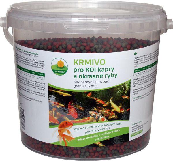 Proxim krmivo pro Koi kapry a okrasné ryby 6mm 5l barevné plovoucí granule